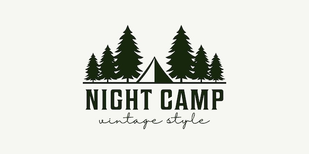 Disegno vettoriale del logo della tenda dell'albero dell'annata del campo notturno