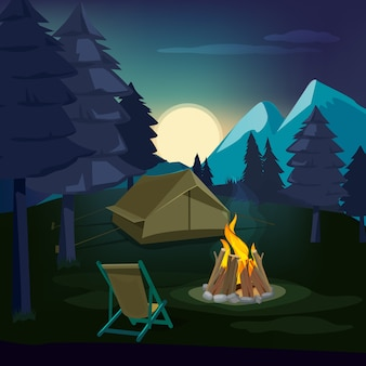 Falò notturno. paesaggio in legno con tenda e camino con grande fiamma accesa all'aperto. notte del falò, illustrazione all'aperto della tenda