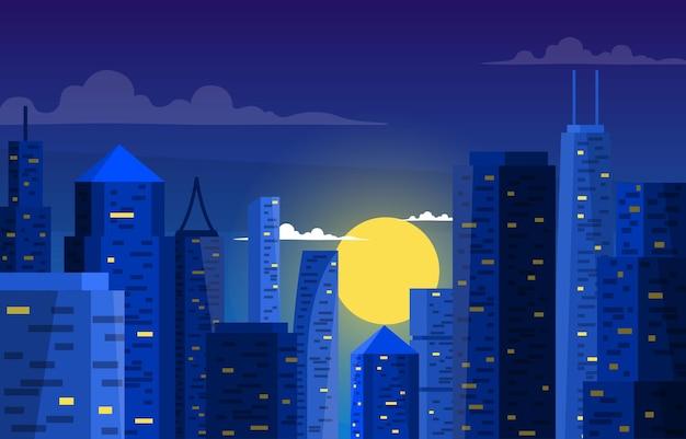 Illustrazione di affari dell'orizzonte di paesaggio urbano della costruzione di edifici della città di notte