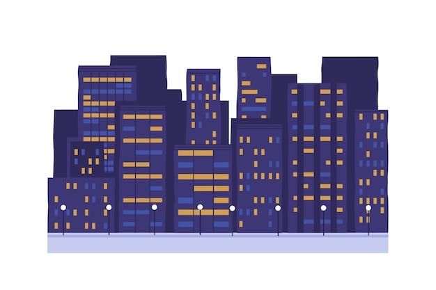 Illustrazione di vettore degli edifici della città di notte. illuminazione stradale cittadina. case a più piani con finestre brillanti isolate su sfondo bianco. sera, notte. centro affari, esterno condominio.