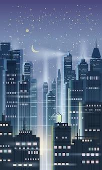 Città di notte, scena della città, grattacieli, torri, cielo stellato, luci, orizzonte, prospettiva