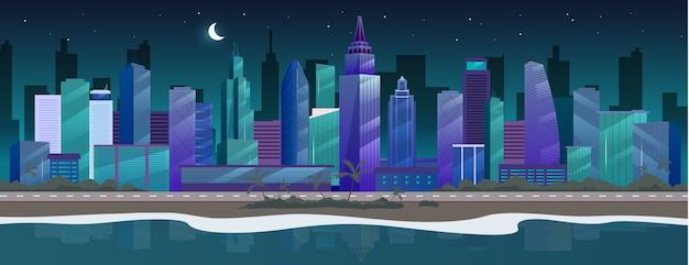 Illustrazione di colore piatto della città di notte