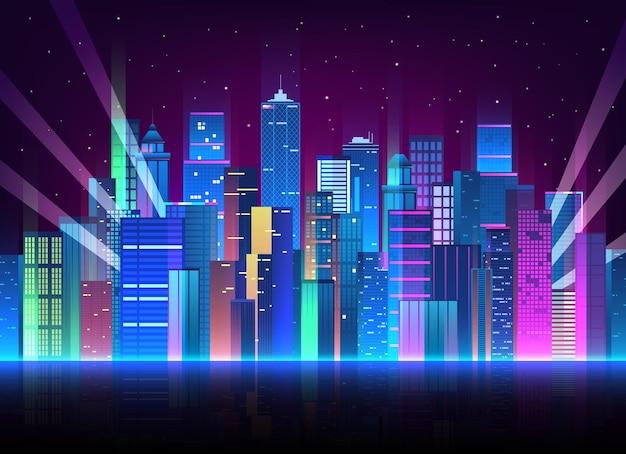 Illustrazione della città di notte con bagliore al neon e colori vivaci