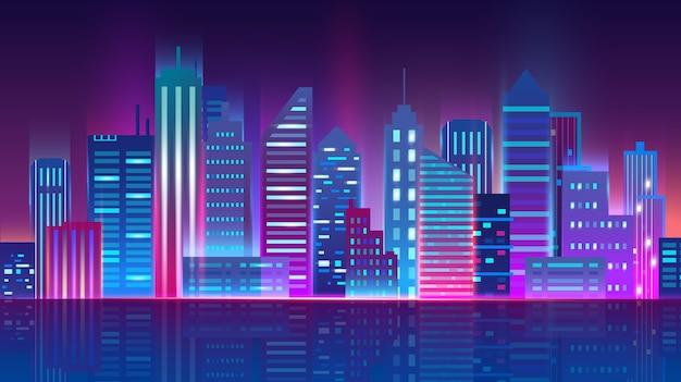 Skyline della città di notte con luci al neon incandescente.