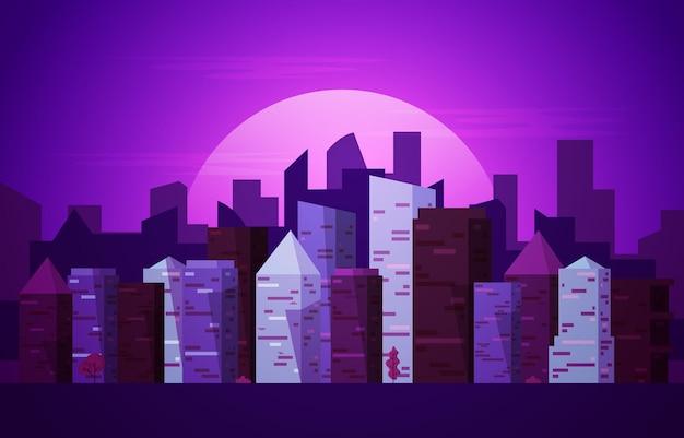 Notte città urbano grattacielo edificio paesaggio urbano vista design piatto illustrazione