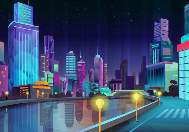 Città di notte, illustrazione vettoriale in stile low poly