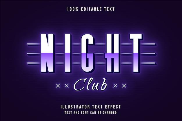 Night club, 3d testo modificabile effetto viola gradazione al neon in stile testo Vettore Premium