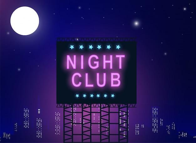 Tabellone per le affissioni del night-club nel colore al neon.