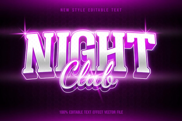 Effetto testo modificabile night club moderno stile neon