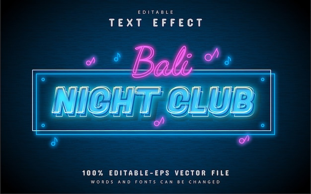 Effetto testo luce night club
