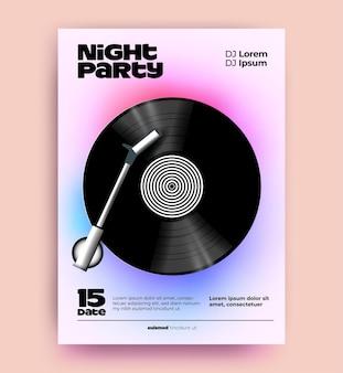 Modello di poster o volantino per feste musicali notturne con disco in vinile realistico
