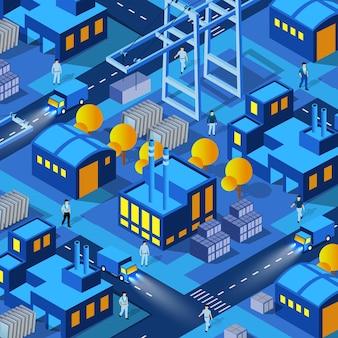 La notte fabbrica fabbriche industria città sfondo 3d futuro neon ultravioletto degli edifici isometrici delle infrastrutture urbane. illustrazione concettuale del vettore della costruzione di architettura moderna.