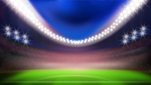 Stadio di calcio notturno con luci intense