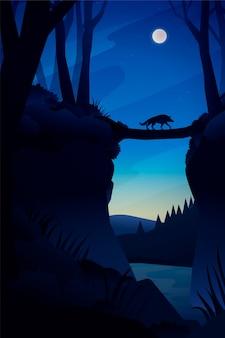 Paesaggio forestale notturno