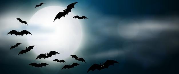 Notte, luna piena e pipistrelli, banner orizzontale. illustrazione di halloween spaventoso colorato.