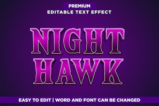 Night hawk, gioco modificabile stile logo effetto testo