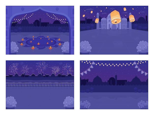 Insieme dell'illustrazione di colore piatto di celebrazione di festa indù di notte