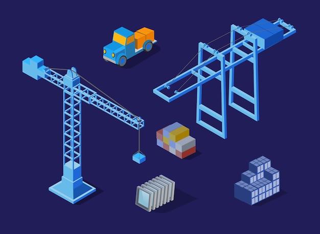 La gru da costruzione industriale di notte. set di infrastrutture isometriche
