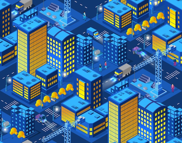 La città intelligente della gru domestica della costruzione industriale di notte