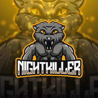 Design del logo della mascotte di esport killer notturno