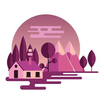 Illustrazione del paesaggio notturno in stile piatto con montagne, foreste e hom. sfondo per il concetto di design di campo estivo, turismo naturalistico, campeggio o escursionismo. illustrazione vettoriale.