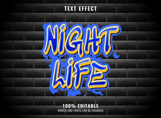 Effetto testo graffiti modificabile blu e giallo della vita notturna