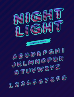 Tipografia moderna del carattere della luce notturna