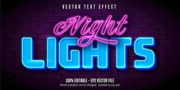 Testo di luci notturne, effetto di testo modificabile in stile neon