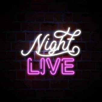 Illustrazione dal vivo al neon dell'insegna di notte