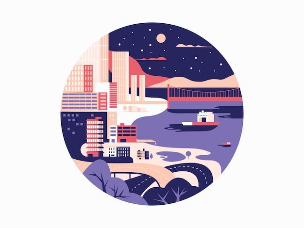 Design piatto megapolis notturno. città con edificio e strada urbana. illustrazione