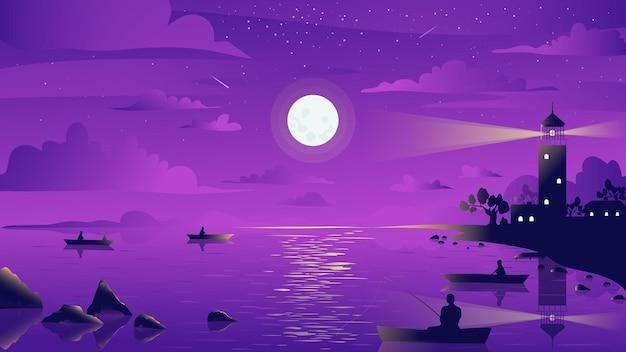 Il pescatore del paesaggio del faro al chiaro di luna di notte in barca cattura il pesce con la canna da pesca