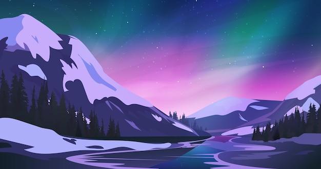Paesaggio montano notturno con aurora boreale