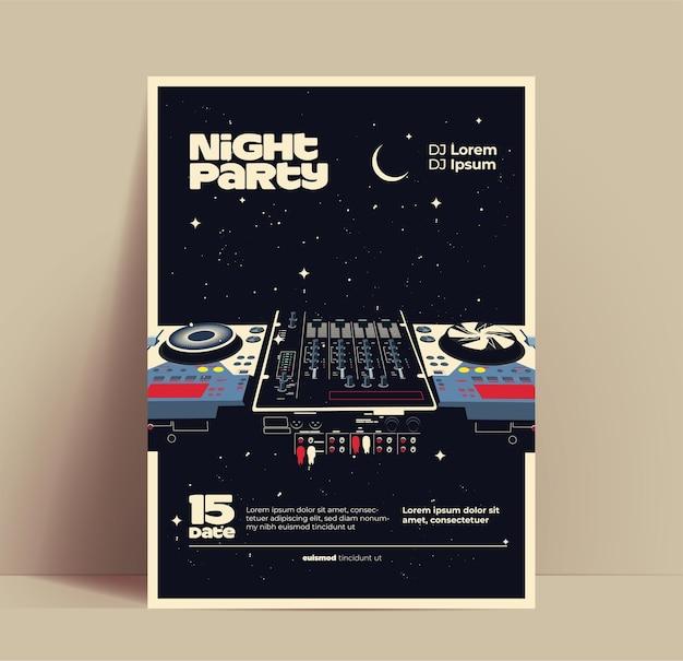 Volantino per feste di musica notturna o poster o modello di banner per night club con dj mixer