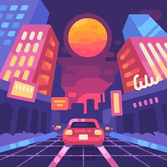 Illustrazione piana di stile degli anni '80 della via della città al neon di notte