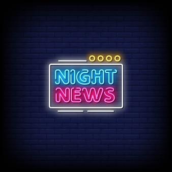Insegne al neon di notizie notturne