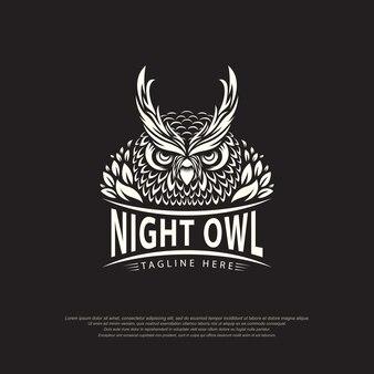 Progettazione astratta del modello dell'illustrazione di vettore di logo del gufo notturno su fondo nero