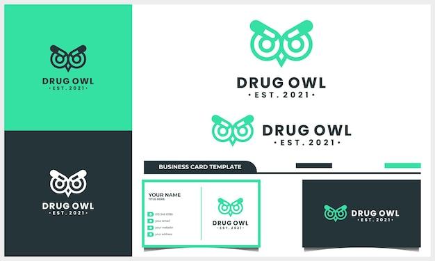 Gufo notturno con il concetto di design del logo della droga della medicina e il modello di biglietto da visita