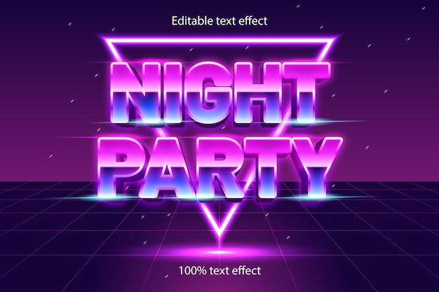 Effetto di testo modificabile per feste notturne retrò con stile neon