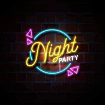 Illustrazione dell'insegna al neon del partito di notte