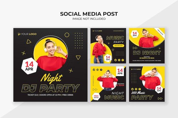 Modello di post instagram social media festa notturna