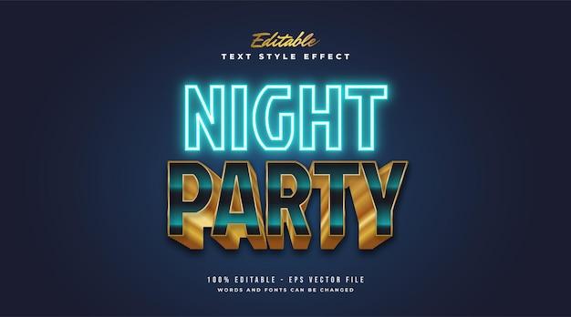 Stile di testo festa notturna in effetto neon blu e oro