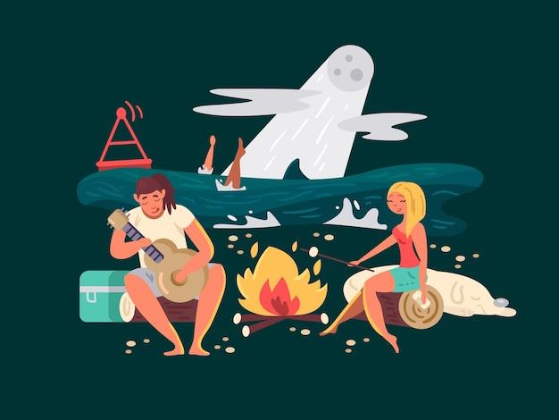 Picnic notturno sulla ragazza della spiaggia con il ragazzo vicino all'illustrazione di vettore del fuoco