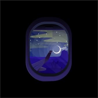 Finestra dell'aereo notturno