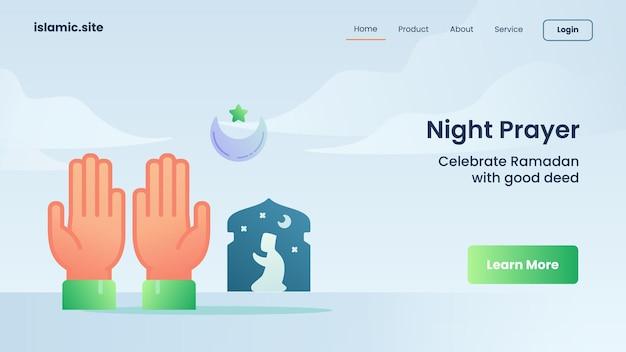 Preghiera notturna per l'atterraggio del modello di sito web o il design della homepage
