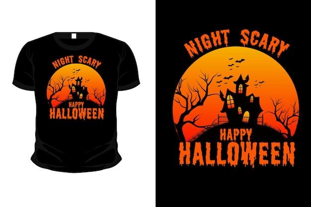 Disegno della maglietta di halloween felice spaventoso di notte