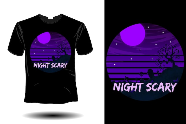 Design vintage retrò di mockup spaventoso notturno