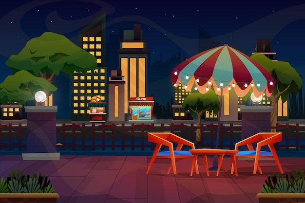 Scena notturna di mini cabina o negozio di bevande con sedia e tavolo sotto l'ombrellone vicino al parco naturale