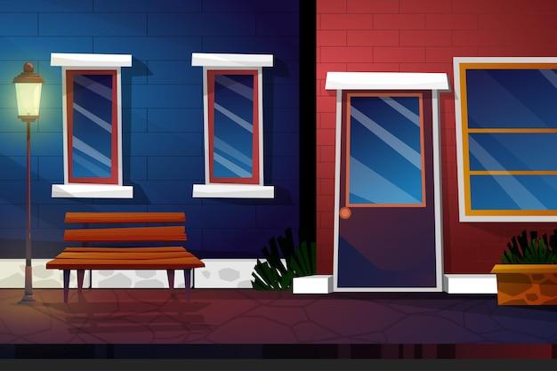 Scena notturna con negozio di bevande nel paesaggio urbano dei cartoni animati del parco con panca in legno