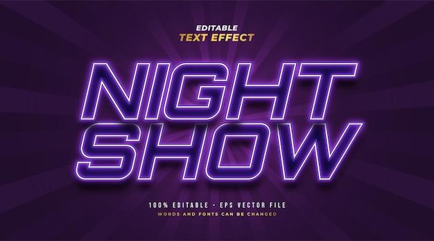 Effetto stile testo modificabile spettacolo notturno