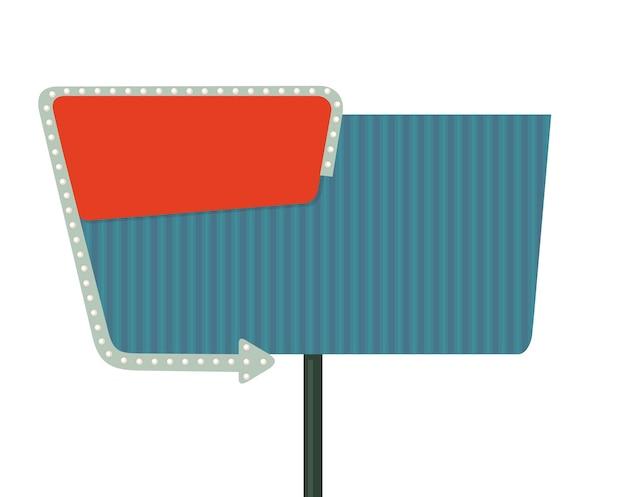Cartello notturno con una freccia tabellone per le affissioni in stile retrò con luci illustrazione piatta vettoriale